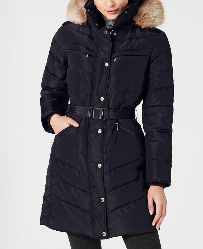 Michael Kors - Belted Faux-Fur-Trim Puffer Coat