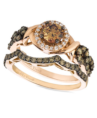 le vian chocolate and white stackable rings in 14k