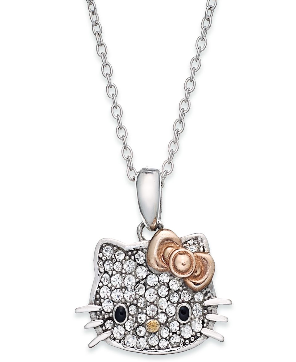 Hello Kitty Sterling Silver Necklace, Enamel Face Pendant   Necklaces   Jewelry & Watches