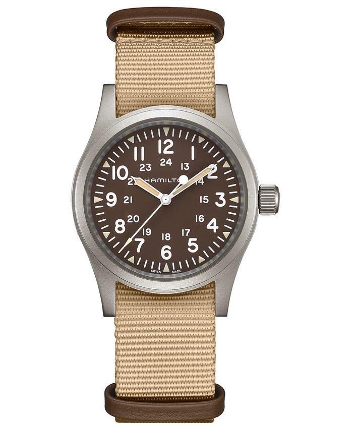 Hamilton - Unisex Swiss Mechanical Khaki Field Beige Fabric Strap Watch 38mm