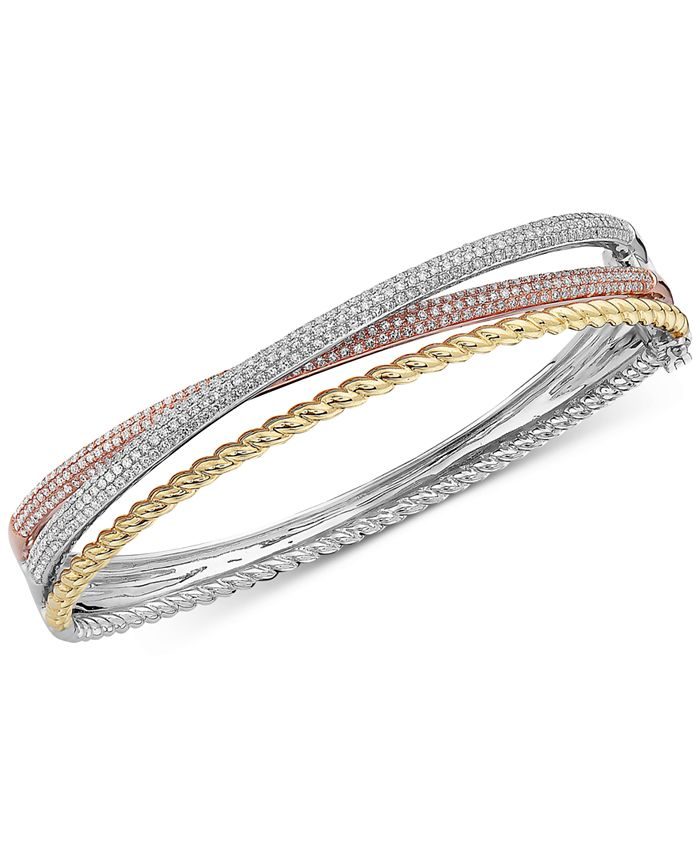 EFFY Collection - Diamond Tri-Color Bangle Bracelet (1-1/2 ct. t.w.) in 14k Gold, 14k White Gold and 14k Rose Gold