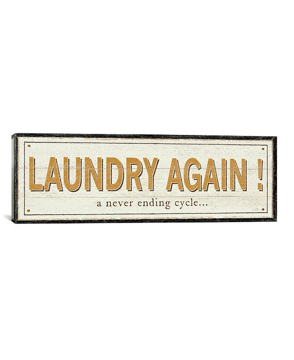 """iCanvas Laundry Again! by Pela Studio Gallery-Wrapped Canvas Print - 12"""" x 36"""" x 0.75"""""""
