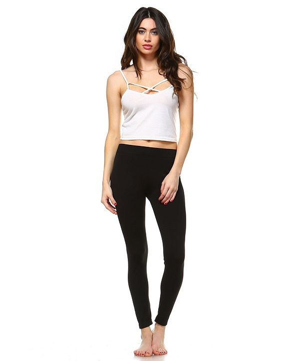 White Mark Solid Leggings