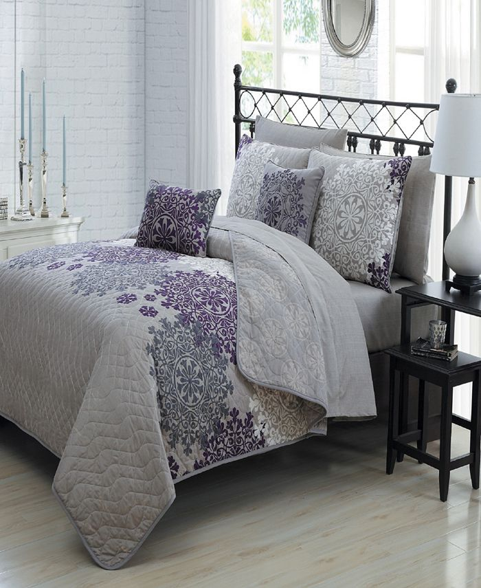 Avondale Manor - Amber 7pc Reversible Twin Quilt Set with Sheets and Decorative Pillows