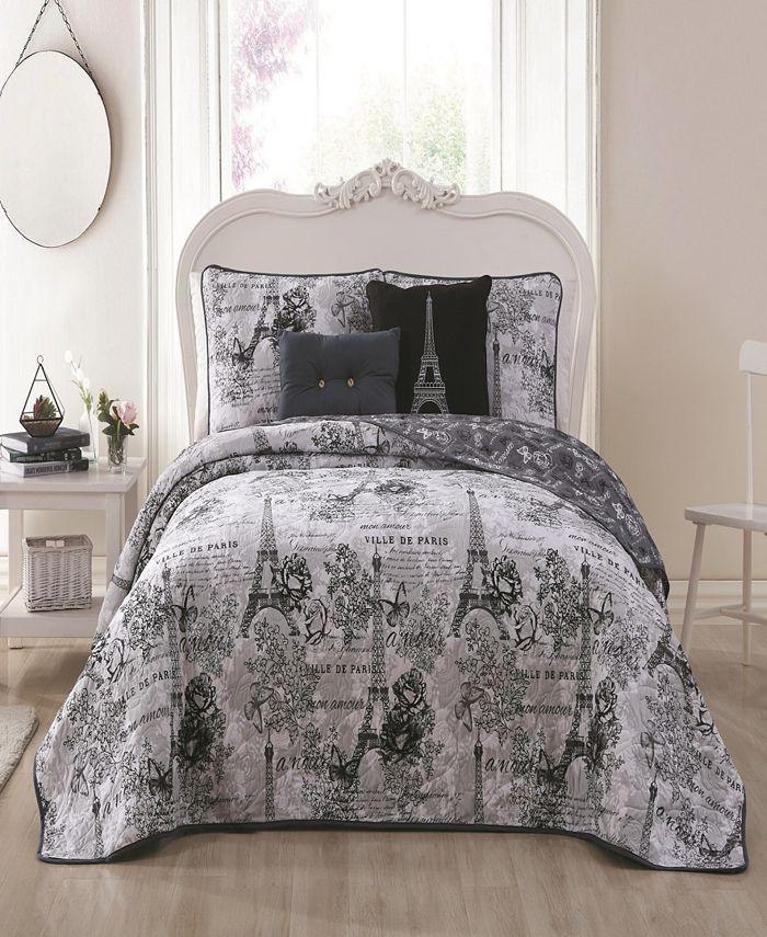 Blush - Amour Paris Themed 4pc Twin Reversible Quilt Set with Decorative Pillows