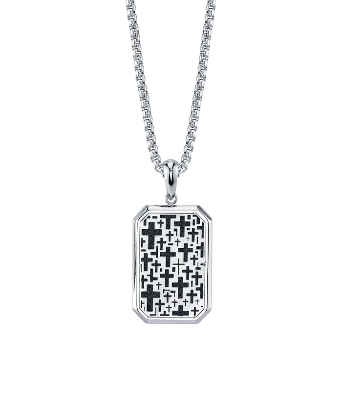 """He Rocks - Cross Dog Tag 24"""" Pendant Necklace in Stainless Steel"""
