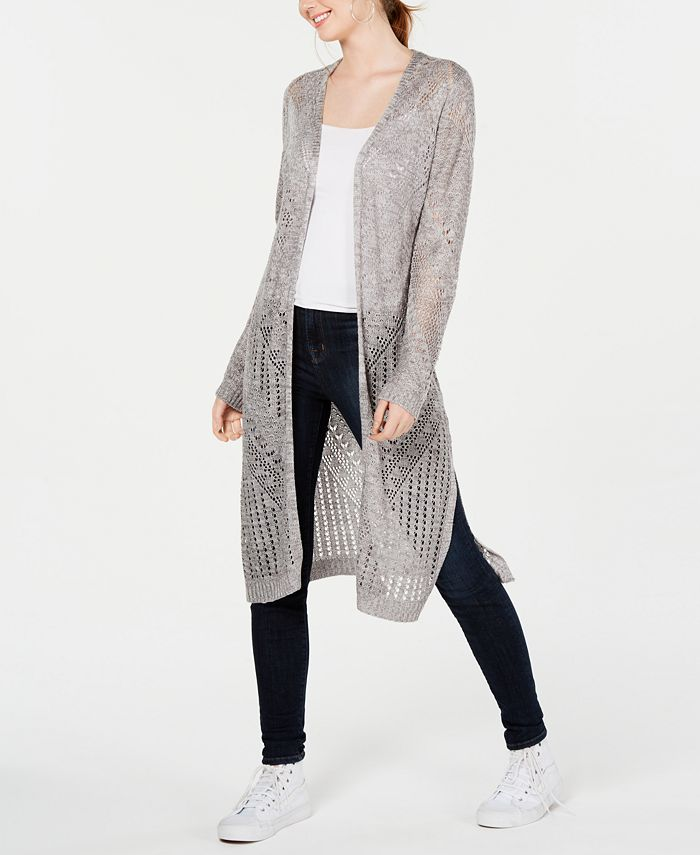 Hooked Up by IOT - Juniors' Pointelle Open-Front Duster Cardigan