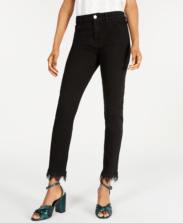 Jen7 by 7 For All Mankind - Frayed Ankle Skinny Jeans