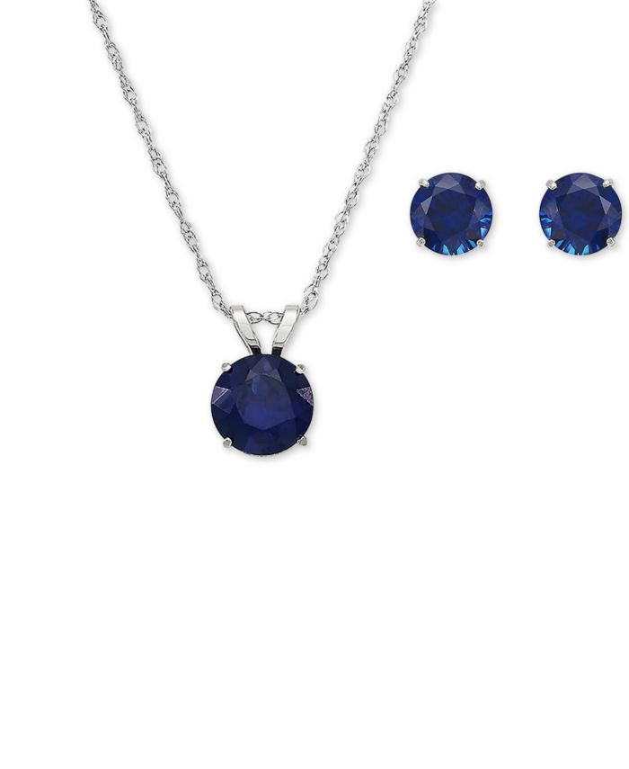 Macy's Set Lab-Created Sapphire Pendant Necklace and Matching Stud Earrings (3-1/10 ct. t.w.) in 10k White Gold(Also Available in Ruby) & Reviews - Jewelry & Watches - Macy's