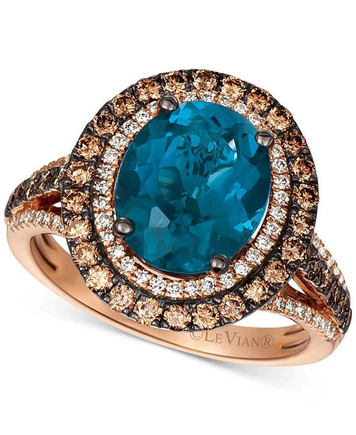Le Vian - Deep Sea Blue Topaz (4 ct. t.w.) & Diamond (7/8 ct.t.w.) Statement Ring in 14k Rose Gold