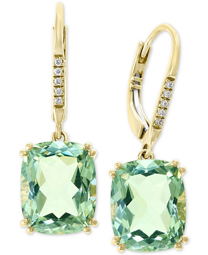 EFFY Collection - Green Quartz (8-1/3 ct. t.w.) & Diamond Accent Drop Earrings in 14k Gold