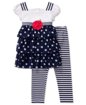 Sweet Heart Rose Baby Set Baby Girls Tiered Dot Tunic and Leggings Set