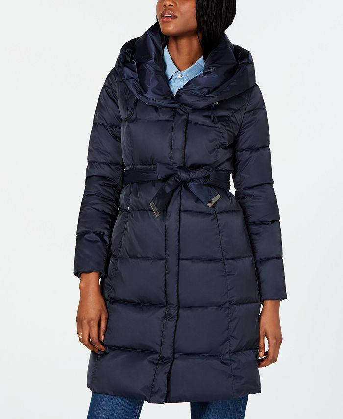 Tahari - Belted Shawl-Collar Puffer Coat