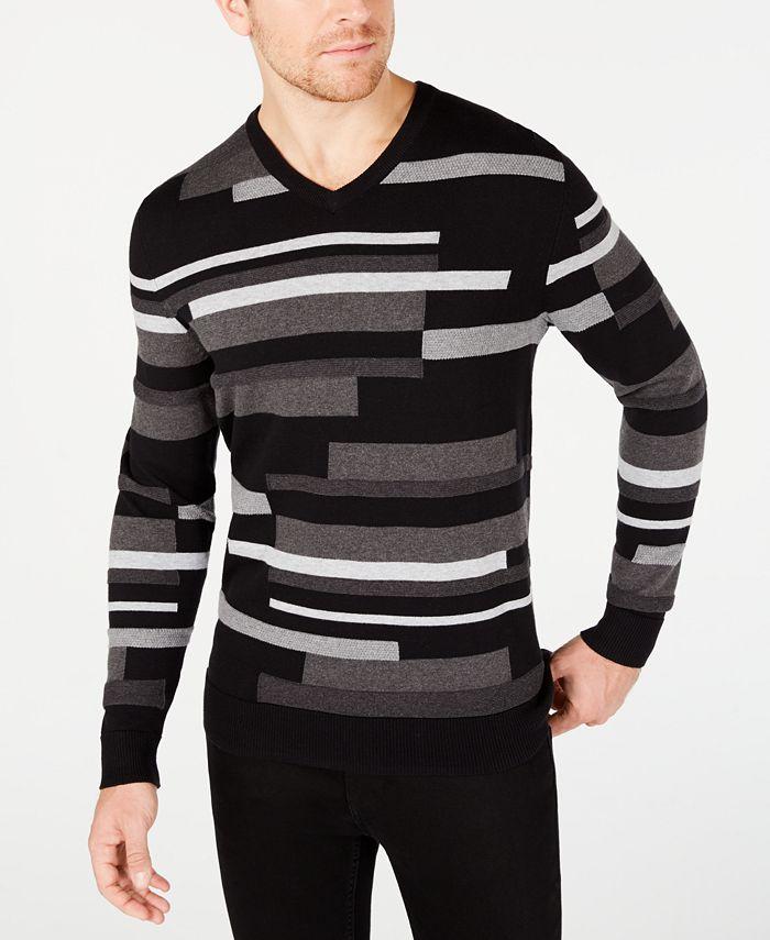 Alfani - Men's Textured Striped V-Neck Sweater