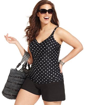 Christina Plus Size Swimsuit Polka Dot Romper One Piece
