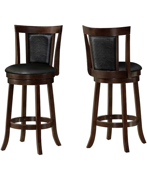 "Monarch Specialties 2 Piece 43"" H Leather Look Bar Stool Set"