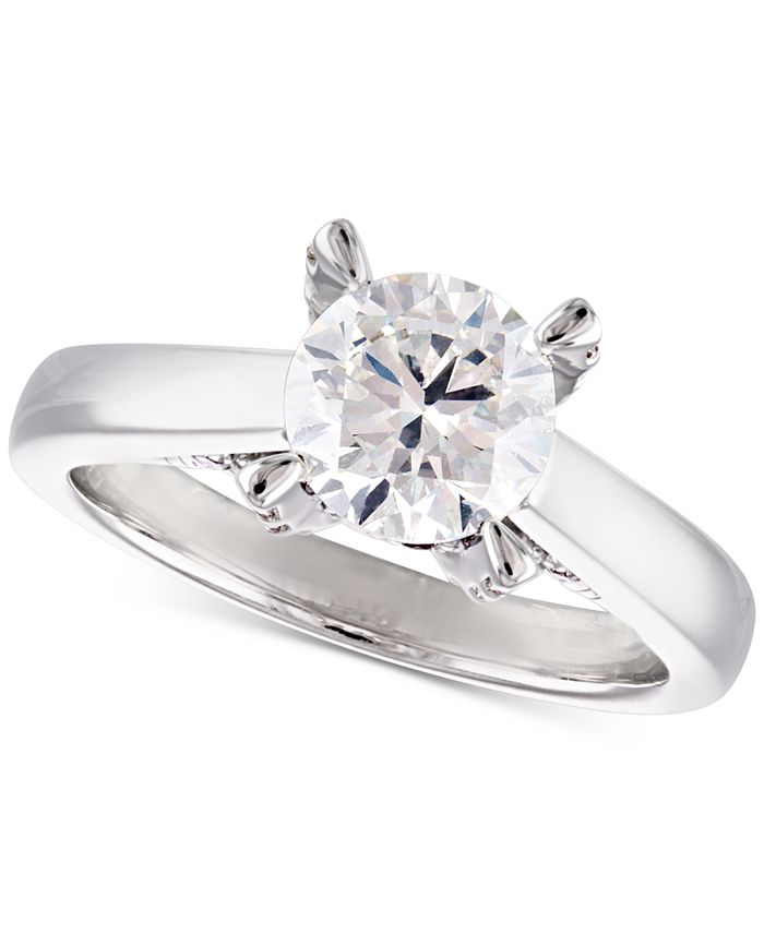 Macy's - Certified Diamond Solitaire Engagement Ring (2 ct. t.w.) in 14k White Gold