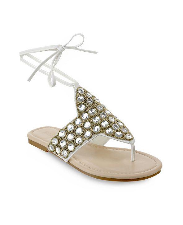 Olivia Miller Naples Large Multi Rhinestone Beaded Ankle Tie Sandals