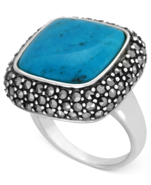 Genevieve & Grace Sterling Silver Ring, Reconstituted Turquoise and Marcasite Square Ring