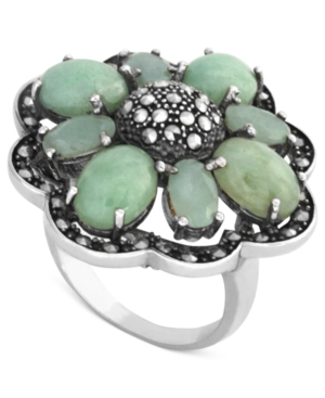 Genevieve & Grace Sterling Silver Ring, Jade (5/8 ct. t.w.) and Marcasite Flower Ring