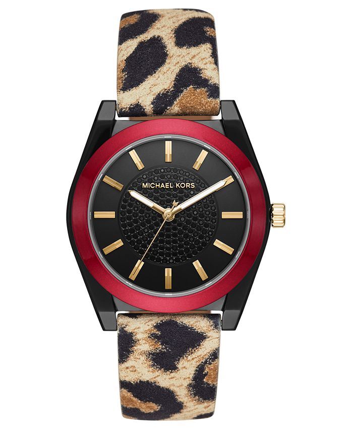 Michael Kors - Women's Channing Animal Print Leather Strap Watch 40mm