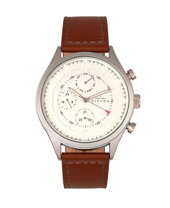 Elevon Men's Lindbergh Genuine Leather Strap Watch 45mm