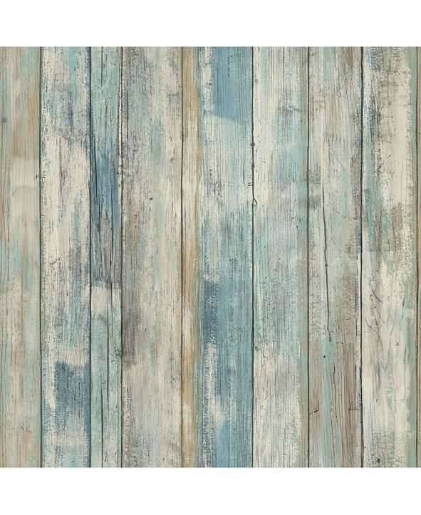 York Wallcoverings Blue Distressed Wood Peel And Stick Wallpaper
