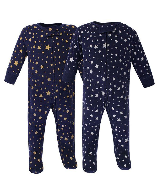 Hudson Baby Zipper Sleep N Play, Metallic Stars, 2 Pack, 6-9 Months