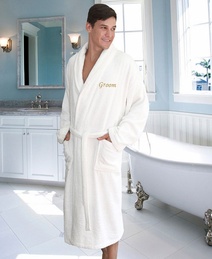 "Linum Home - Terry Bathrobe with Embroidered ""Groom"""