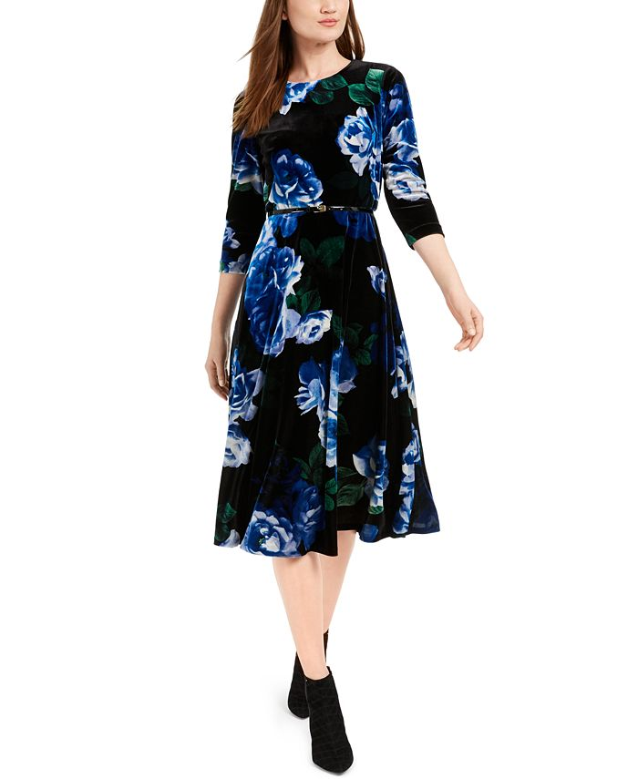Calvin Klein - Belted Printed Velvet Dress