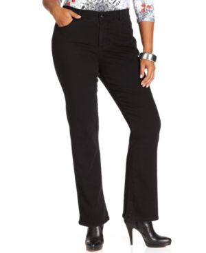 Style & Co. Plus Size Tummy Control Bootcut Jeans, Noir Wash