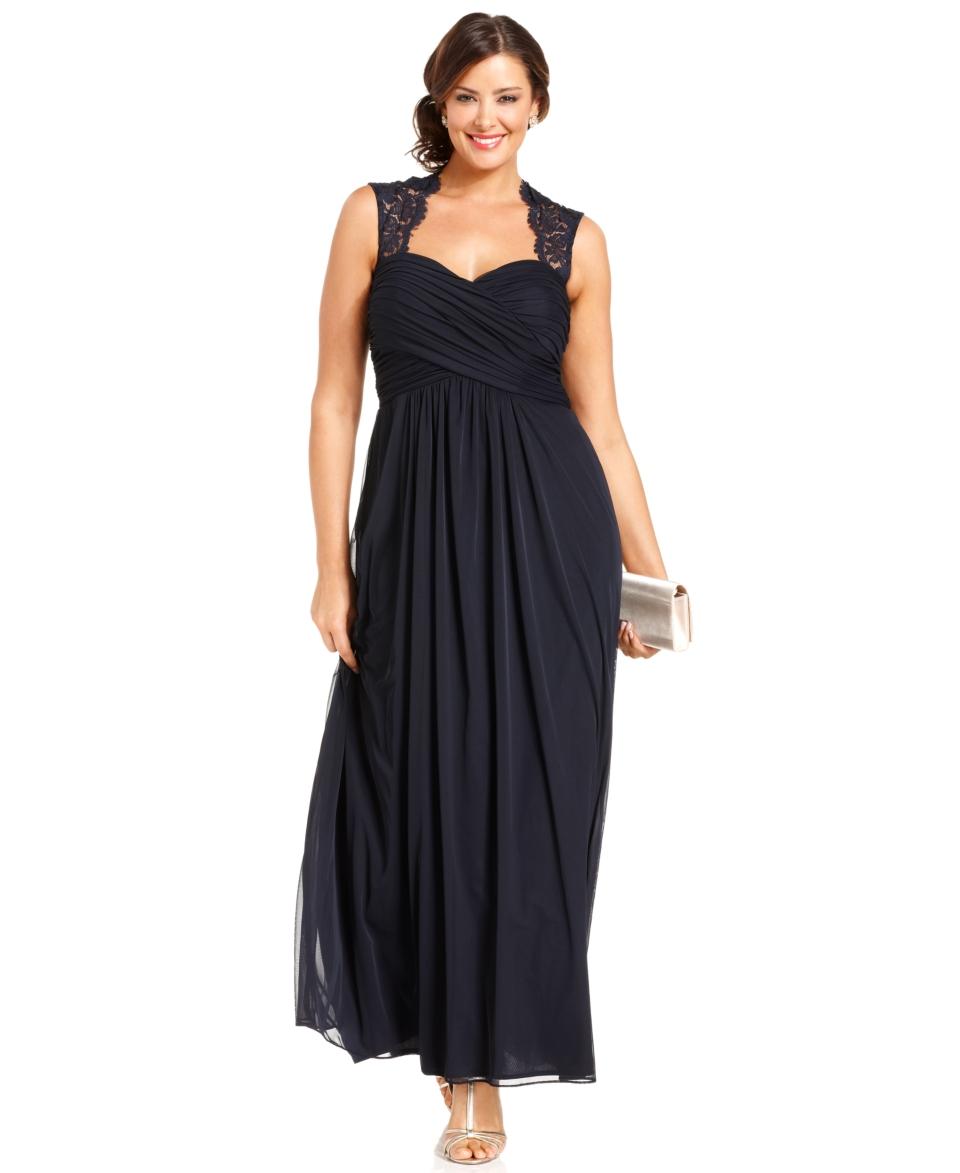 Xscape Plus Size Dress, Sleeveless Lace Back Empire Waist