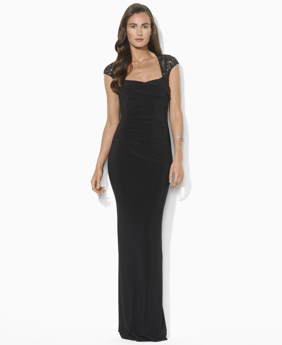 Lauren Ralph Lauren Petite Dress, Cap Sleeve Sequin Gown   Dresses   Women