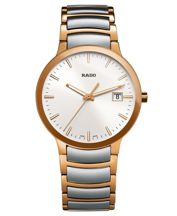 Rado - Watch, Men's Swiss Centrix Two-Tone Stainless Steel Bracelet 38mm R30554103
