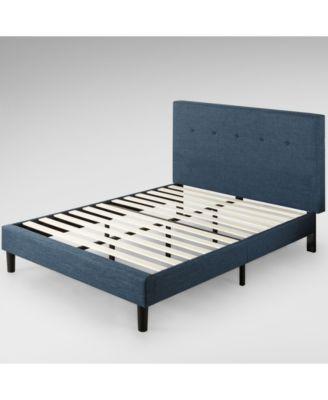 Omkaram Upholstered Navy Platform Bed / Wood Slat Support, Full