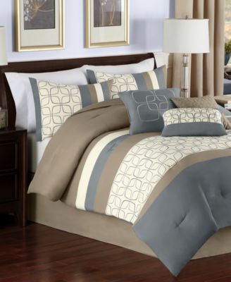 Bergen 7 Piece Queen Embroidered Comforter Set