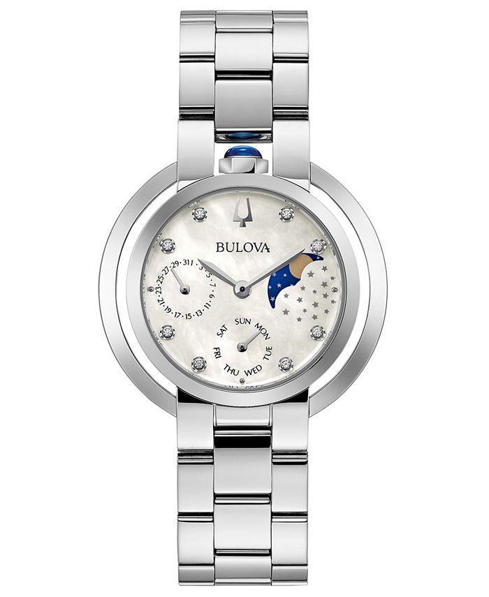 Bulova - Women's Rubaiyat Diamond-Accent Stainless Steel Bracelet Watch 35mm