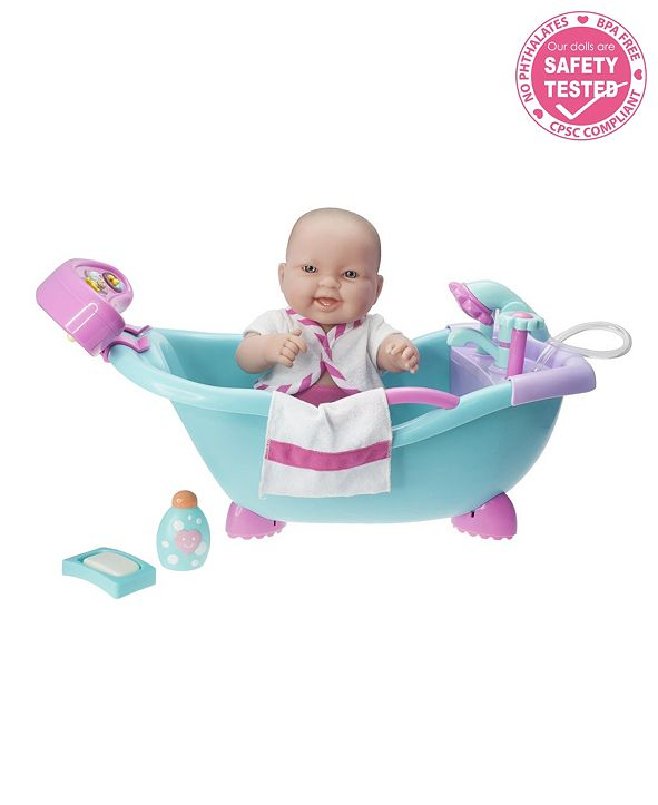 "JC TOYS Lots to Love Babies Doll Real Working Bathtub with Electronic Bath Sounds All Vinyl Water Friendly 14"" Posable Doll - For Children 2 Years and older, Designed by Berenguer"