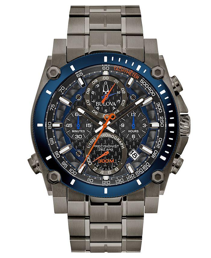 Bulova - Men's Chronograph Precisionist Gray Stainless Steel Bracelet Watch 46.5mm
