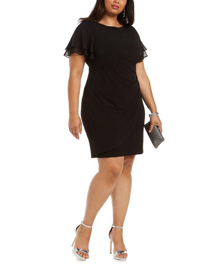 Jessica Howard - Plus Size Flutter-Sleeve Side-Ruched Dress