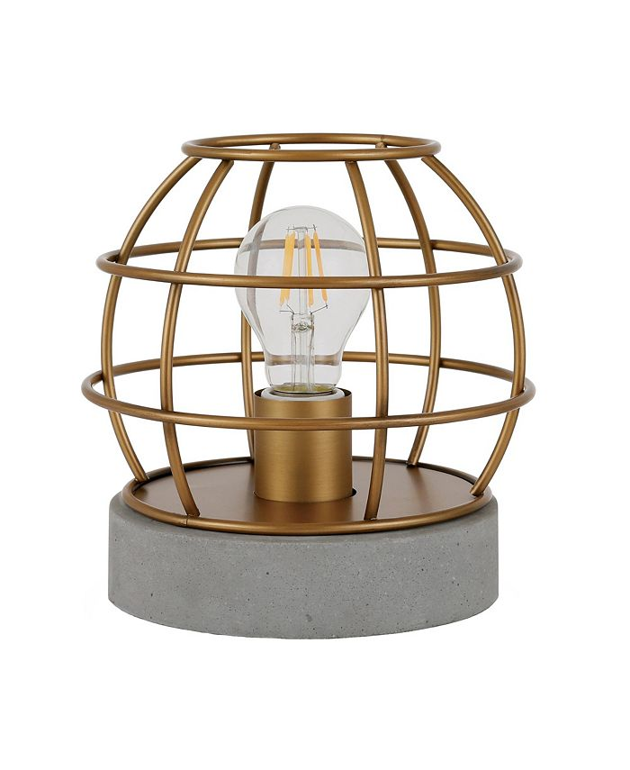 Hudson & Canal - Kennet Table Lamp With Antique Brass Cage And Concrete Pedestal