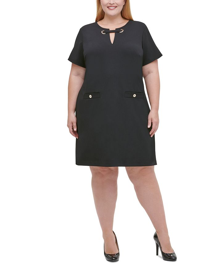 Tommy Hilfiger - Plus Scuba Crepe Grommet Top Pocket Shift  Dress