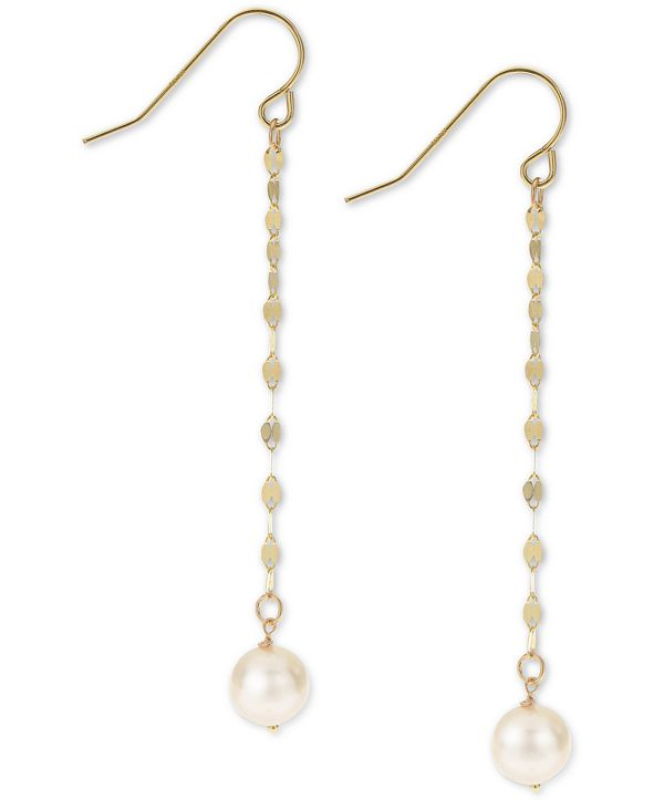 Macy's Cultured Freshwater Pearl (7mm) Chain Drop Earrings in 14k Gold