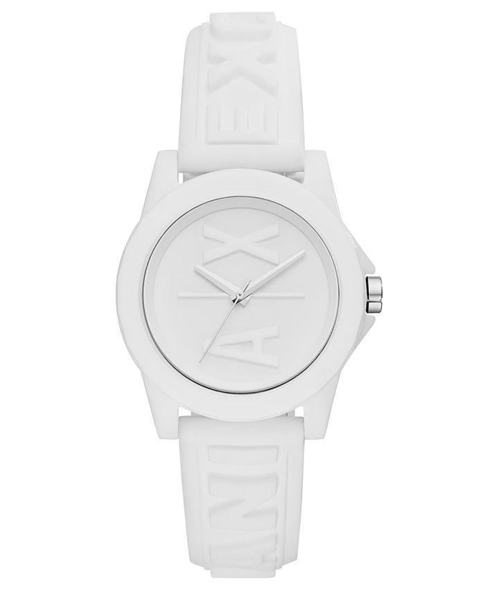 A|X Armani Exchange - Women's Lady Bank White Silicone Strap Watch 40mm