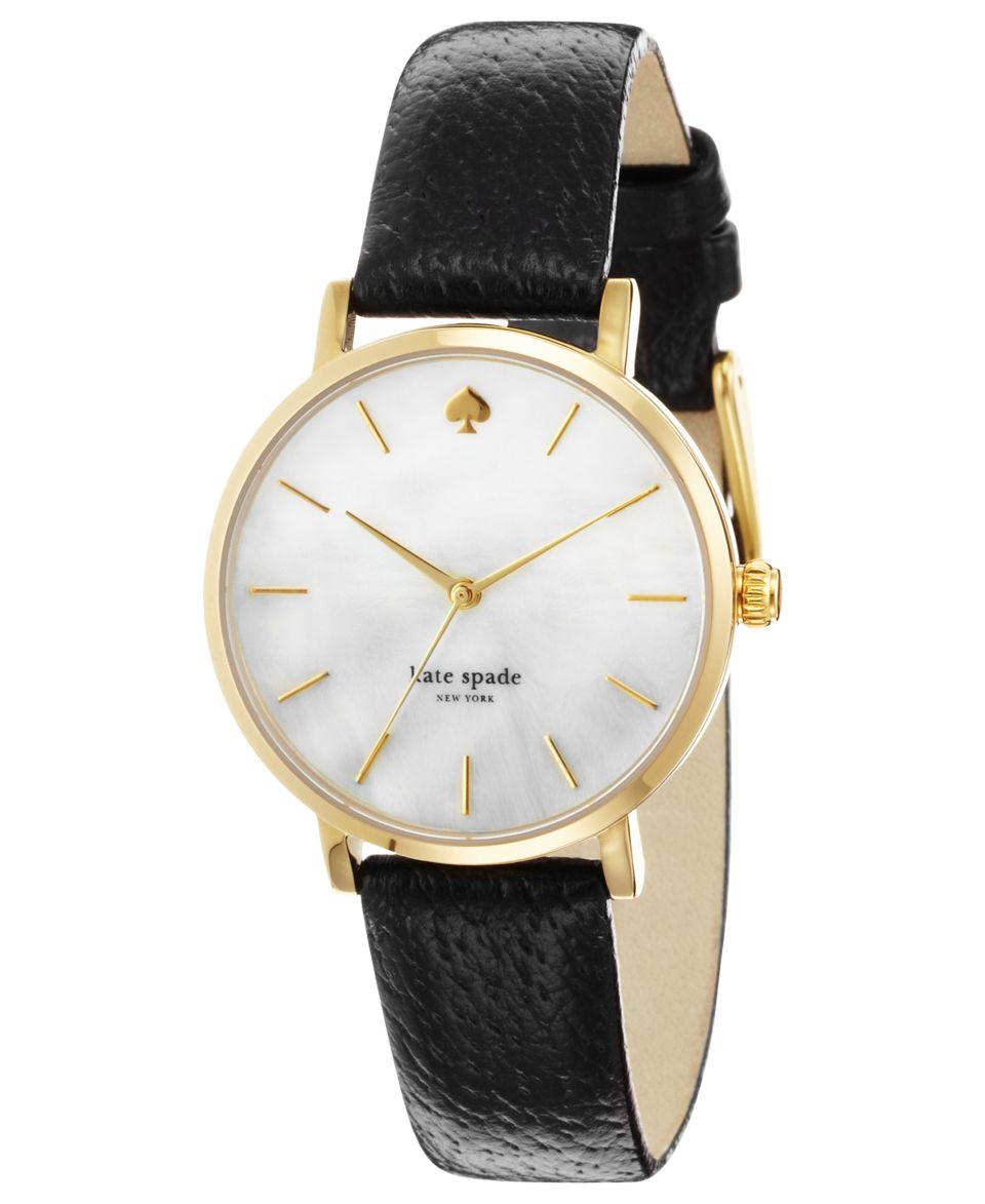 kate spade new york Watch, Womens Metro Black Leather Strap 34mm 1YRU0227   Watches   Jewelry & Watches