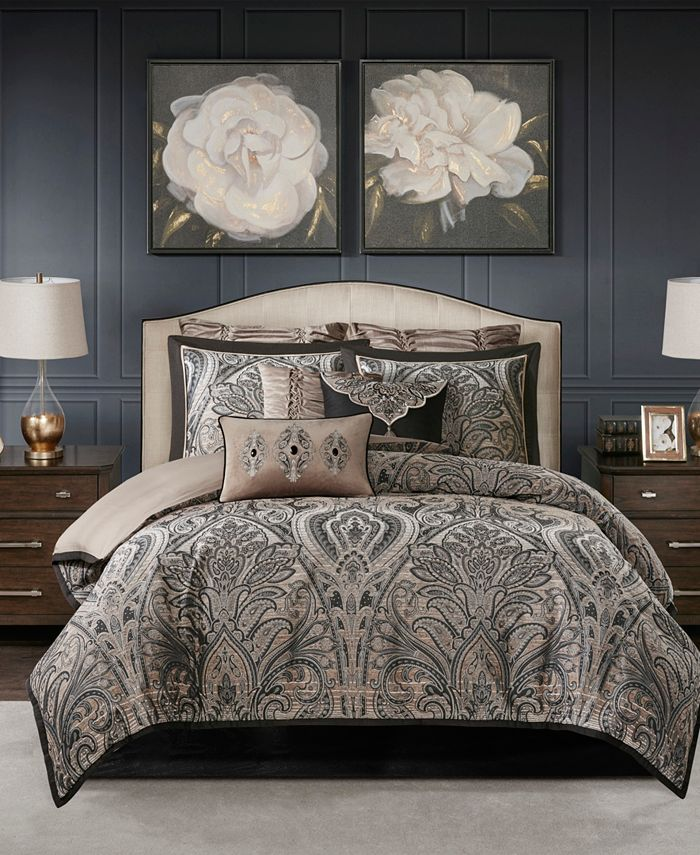 Madison Park Signature - Grandover Queen 8 Piece Jacquard Comforter Set