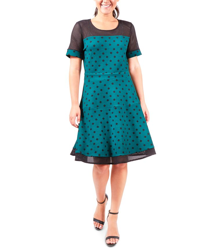 NY Collection - Fit & Flare Dot-Print Dress