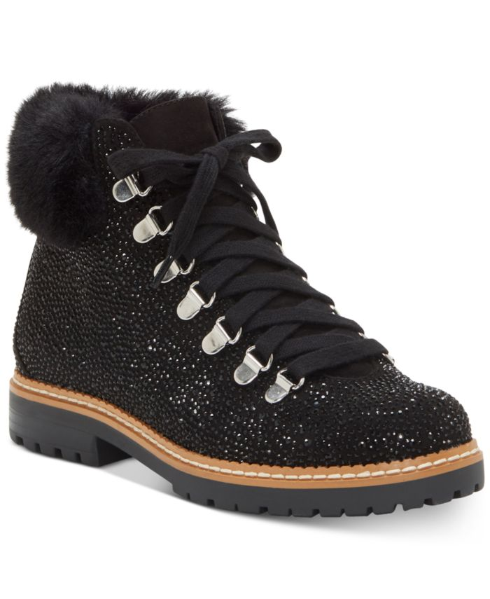 INC International Concepts INC Women's Pravale Lace-Up Lug Sole Hiker Bling Booties, Created for Macy's & Reviews - Boots - Shoes - Macy's