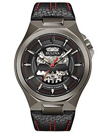 Bulova Men's Automatic Maquina Black Leather Strap Watch 46mm