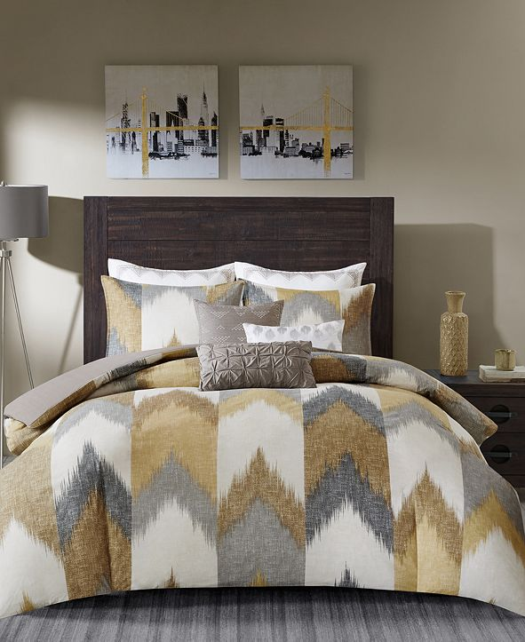 INK+IVY Alpine King/Cal King Cotton Printed Duvet Cover Mini Set Yellow